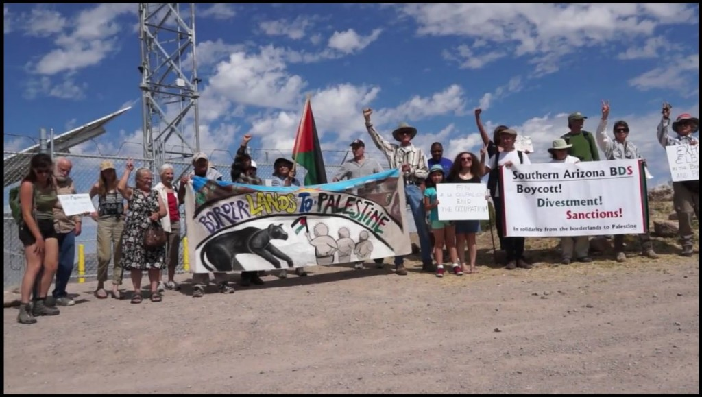 Arizona activists protest Israeli firms militarizing the border, May 2015.